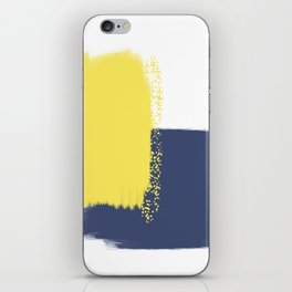 Calm & Happy Abstract Painting Yellow Blue iPhone Skin