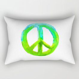 Watercolor Tie Dye Peace Sign Turquoise Lime on White Rectangular Pillow