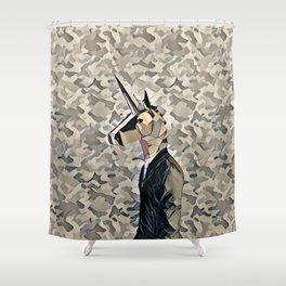 Army unicorn Shower Curtain