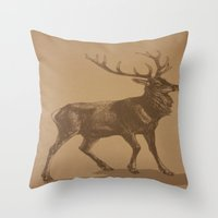 stag Throw Pillows featuring Stag by liberthine01