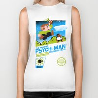 psych Biker Tanks featuring The Amazing Psych-Man and Magic Head! by girardin27