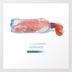 Polluted - Lobster in Bottle Art Print