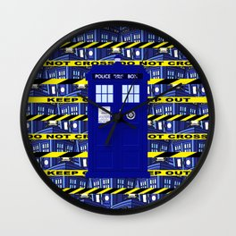 Tardis Yellow Line Wall Clock