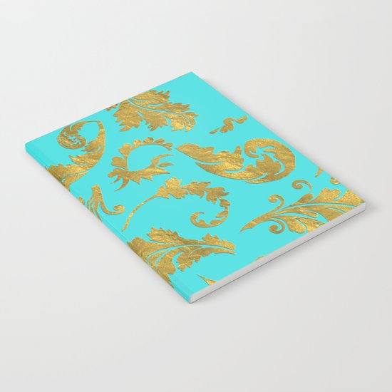 Queenlike on aqua - Gold glitter ornaments on aqua background- pattern Notebook