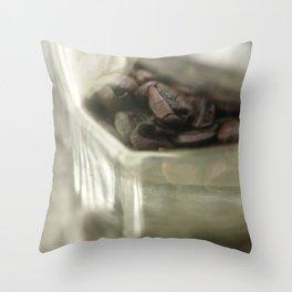 Coffee beans in glass jar - still life - fine art, coffeehouse, coffee shop, cafe, café, macro photo Throw Pillow