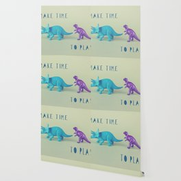 Make Time to Play - Blue and Purple Dino on Green Wallpaper