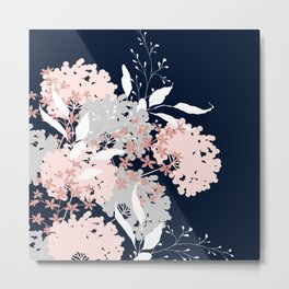 Wildflowers, Floral Print, Navy Blue and Pink Metal Print
