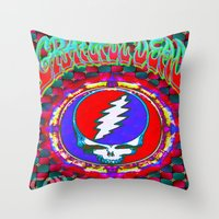 grateful dead Throw Pillows featuring Grateful Dead #10 Optical Illusion Psychedelic Design by CAP Artwork & Design