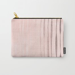 Rose Gold Pastel Pink Vertical Stripes Carry-All Pouch