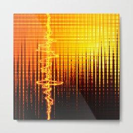 Sound wave orange Metal Print
