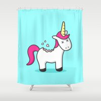cookie Shower Curtains featuring Unicorn Cookie by Sombras Blancas Art & Design