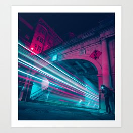 Bus Light Trails Art Print