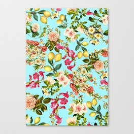 Lemon and Leaf Pattern IV Canvas Print