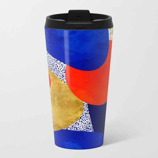 Terrazzo galaxy blue night yellow gold orange Metal Travel Mug