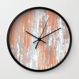 Abstract ink. Gray. metallic. orange. abstract. .minimalist. line. minimalism. lines. Wall Clock