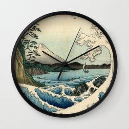 Hiroshige - 36 Views of Mount Fuji (1858) - 23: The Sea off Satta in Suruga Province Wall Clock