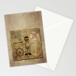Captain, ship, rudder, anchor, lifebelt, map, compass, old map, messy, messy map Stationery Cards