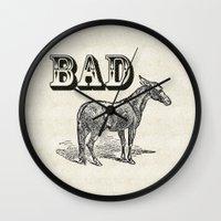 ass Wall Clocks featuring Bad Ass by Jacqueline Maldonado
