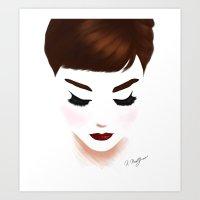 audrey Art Prints featuring audrey by Kathryn M.