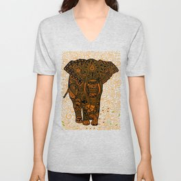 Aztec Elephant With Floral Pattern Unisex V-Neck