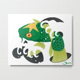 Astro Koi Green Metal Print