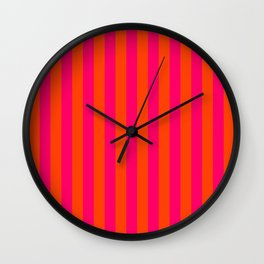 Super Bright Neon Pink and Orange Vertical Beach Hut Stripes Wall Clock