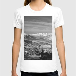 Innsbruck In Winter From Patscherkofel Mountain black white T-shirt