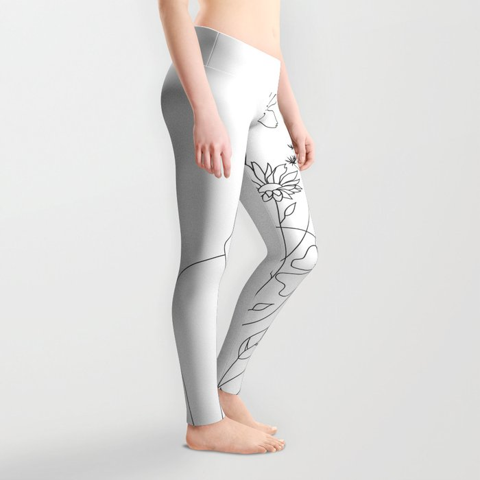 Minimal Line Art Woman with Flowers III Leggings