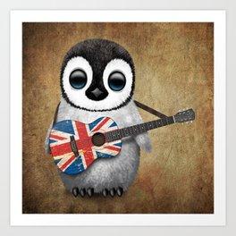 Baby Penguin Playing Union Jack British Flag Guitar Art Print