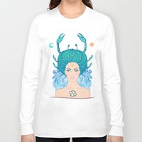 zodiac Long Sleeve T-shirts featuring Zodiac Cancer by Varvara Gorbash