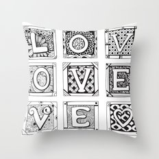Love - Doodled cards with letters Throw Pillow