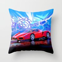 ferrari Throw Pillows featuring Ferrari Enzo by JT Digital Art