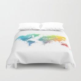 World Map splash 1 Duvet Cover