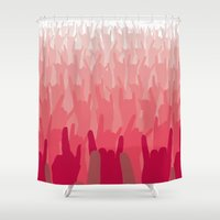 rock and roll Shower Curtains featuring Rock & roll red army by Black Oak ATX