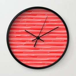 Curved gentle scribbles of art waves and light red lines. Wall Clock