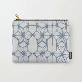 Simply Shibori Stars in Indigo Blue on Lunar Gray Carry-All Pouch
