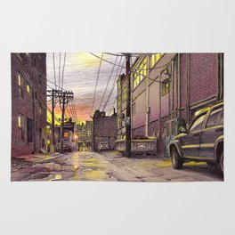 Industrial alley at the sunset Rug