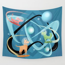 Atomic Rocket Powered Space Dogs Wall Tapestry