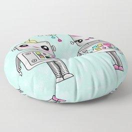Cute robots in love Floor Pillow