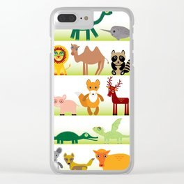 Set of funny cartoon animals character on white background Clear iPhone Case