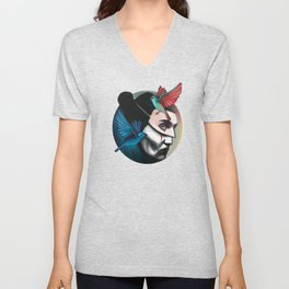 Surreal portrait girl with mask and tropical birds  Unisex V-Neck