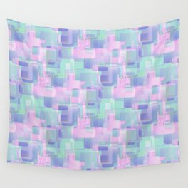 Abstraction. Pink and blue brush strokes. Wall Tapestry