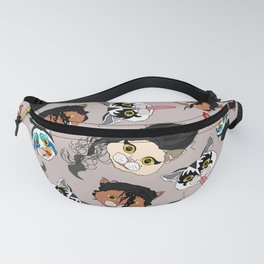 Pop Cats - Pattern French Gray Grey Fanny Pack