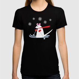 Christmas Mouse on Skis T-shirt
