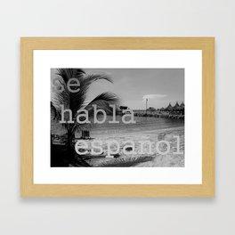 se habla español en la playa (speak Spanish at the beach) Framed Art Print