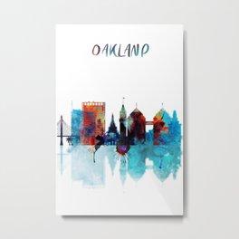 Oakland Skyline Blue Watercolor City Metal Print