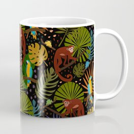 Jungle Pattern with Monkeys, Macaws and colorful Dart Frogs Coffee Mug