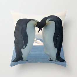 Emperor Penguin Courtship Throw Pillow