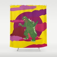 godzilla Shower Curtains featuring GODZILLA by Mariery Young