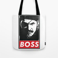 metal gear solid Tote Bags featuring Big Boss - Metal Gear Solid by TxzDesign